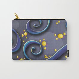 Purple Swirls on purple background with gold circles Carry-All Pouch