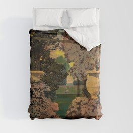 The oaks, the garden of years and other poems floral portrait by Maxfield Parrish Duvet Cover