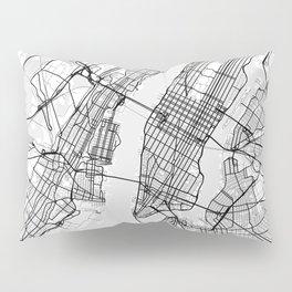 Scandinavian map of New York City in grayscale Pillow Sham