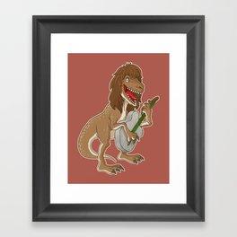 Rocking Dinosaur Framed Art Print