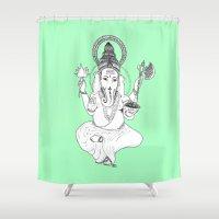 ganesha Shower Curtains featuring Ganesha by Zorko