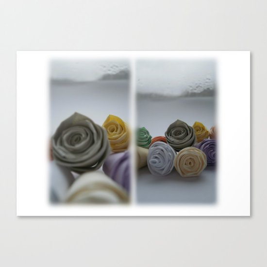Paper Roses on a Frosty Day Canvas Print