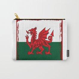 Y Ddraig Goch Grunge Welsh Flag Carry-All Pouch