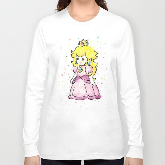 Princess Peach Mario Watercolor Game Art Long Sleeve T-shirt