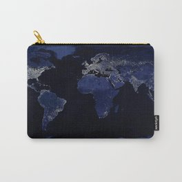 Earth at Night with the lights of most populated cities Carry-All Pouch
