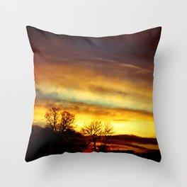 Sunset on an English Christmas Day Throw Pillow