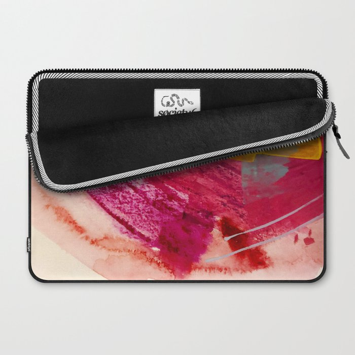 Pink Lemonade: a minimal, colorful abstract mixed media with bold strokes of pinks, and yellow Laptop Sleeve
