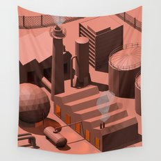 Low Poly Industry Wall Tapestry