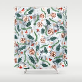 Grunge Roses Pattern Shower Curtain