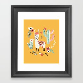White Llama with flowers Framed Art Print