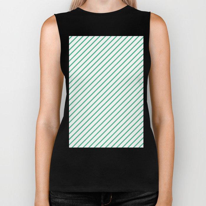 Diagonal Lines (Mint/White) Biker Tank