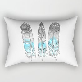 Blue Feathers Rectangular Pillow