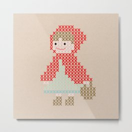 Red Riding Hood cross stitch Metal Print