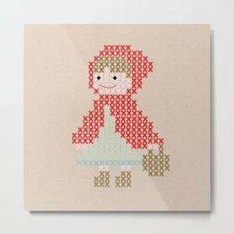 Red Riding Hood cross stitch Metal Print