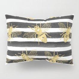 Golden bee noir Pillow Sham