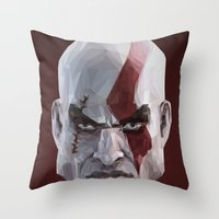 video games Throw Pillows featuring Triangles Video Games Heroes - Kratos by s2lart