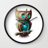 night Wall Clocks featuring Night Owl by Chump Magic