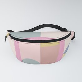 Modern Pastel Architecture Shapes in Pink, Yellow, and Blue Fanny Pack