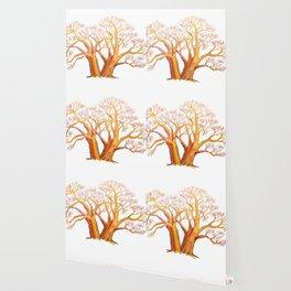 baobab exotic tree madagascar illustration with watercolor pencils Wallpaper