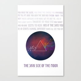 On the dark side of the moon Canvas Print