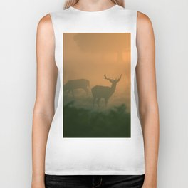 Deer At Dawn Biker Tank