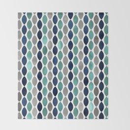 Oval Stripes Aqua and Navy Throw Blanket