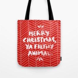Merry Christmas, Ya Filthy Animal – Red Tote Bag