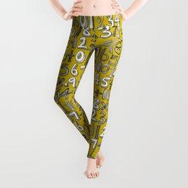 math doodle yellow Leggings