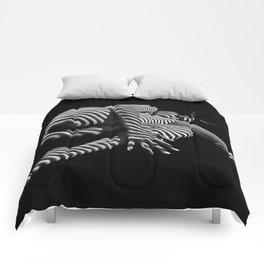 7841-KMA BW Striped Fine Art Nude Woman Emerging From Fetal Position Comforters
