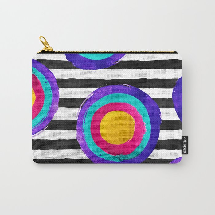 Watercolor stripes and circles Carry-All Pouch