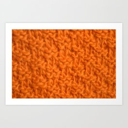 Double seed stitch knitting in bright orange Art Print