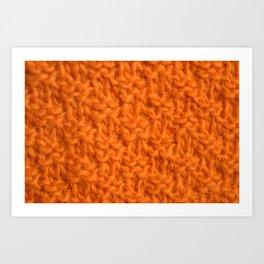 Double seed stitch knitting in bright orange Art Print