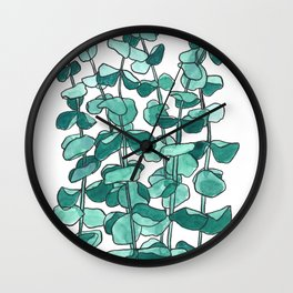 Eucalyptus Branch Watercolor Painting Wall Clock