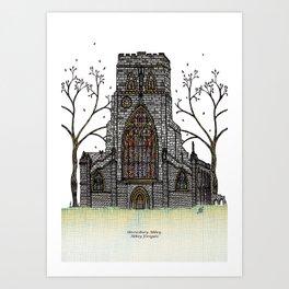 Shrewsbury Abbey, Abbey Foregate. Original Art Print
