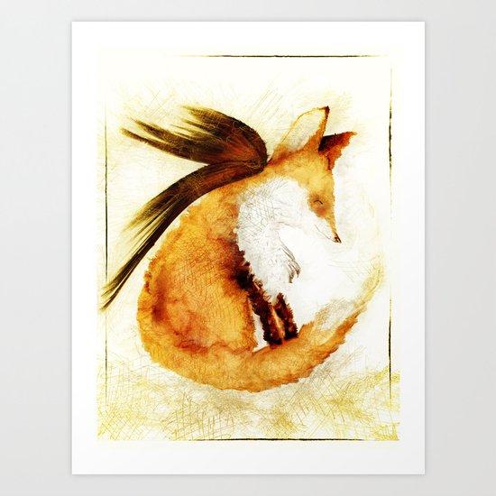 Winged Fox Sleeping Art Print