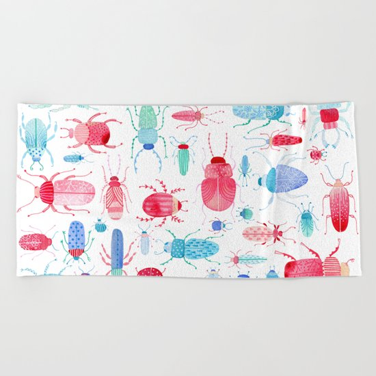 Watercolor Beetles Beach Towel