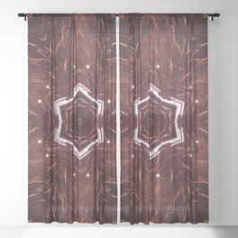 Red Fireworks Star Sheer Curtain