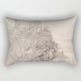 White Crane Mountain Rectangular Pillow