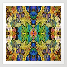 Colorful  Nature Wood Pattern Psychedelic Art Art Print