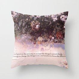 Serenity Prayer Blossoms and Lanterns Throw Pillow