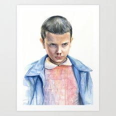 Eleven Stranger Things Watercolor Portrait Art Print