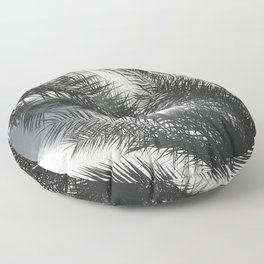 Tropic Island Palm Tree Leaves Upshot At Sunset Floor Pillow