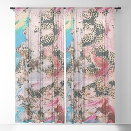 Sparrow Abstract Painting Sheer Curtain