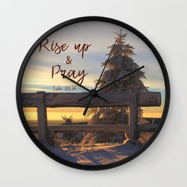 Rise up and Pray Verse Quote Snow Sunrise Wall Clock