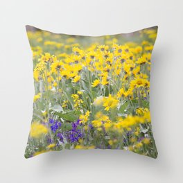 Meadow Gold - Wildflowers in a Mountain Meadow Throw Pillow