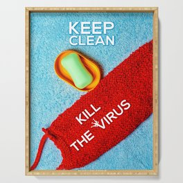 Keep Clean, Kill The Virus Serving Tray