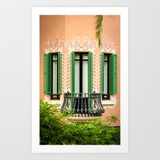 3 green windows Art Print