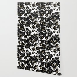 Modern Elegant Black White and Gold Floral Pattern Wallpaper