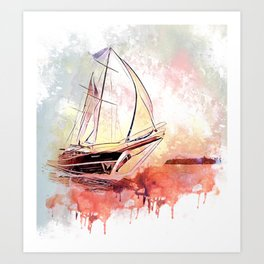 Boat  Red Art Print