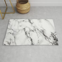 White Faux Marble Texture Rug